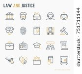 Law And Justice Thin Line Icon...