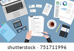contract signing top view ... | Shutterstock .eps vector #751711996