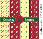christmas retro patterns with...   Shutterstock .eps vector #751712848