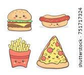 cute junkfood fastfood cartoon... | Shutterstock .eps vector #751717324