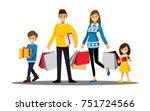 happy family shopping  cartoons ... | Shutterstock .eps vector #751724566