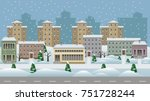 winter cityscape cartoon... | Shutterstock .eps vector #751728244