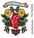 embroidery in the form of heart ... | Shutterstock .eps vector #751730593