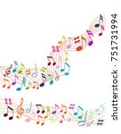 color music notes on a solide... | Shutterstock .eps vector #751731994