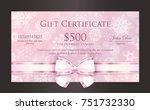 luxury pink christmas gift... | Shutterstock .eps vector #751732330