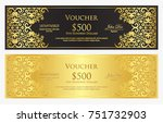 luxury black and golden gift... | Shutterstock .eps vector #751732903