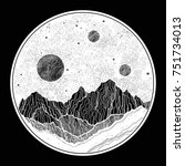 hand drawn extraterrestrial... | Shutterstock .eps vector #751734013
