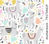 seamless pattern with lamas... | Shutterstock .eps vector #751734619