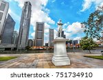 statue of sir tomas stamford... | Shutterstock . vector #751734910
