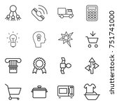 thin line icon set   share ...