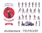 policeman character ready to...   Shutterstock .eps vector #751741159