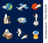 isometric space elements set... | Shutterstock .eps vector #751743154
