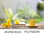 yellow cup and yellow... | Shutterstock . vector #751756078