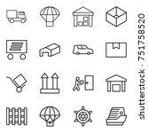thin line icon set   truck ...   Shutterstock .eps vector #751758520