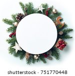 round frame of christmas tree... | Shutterstock . vector #751770448