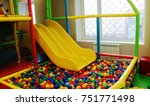 yellow baby slide going down to ... | Shutterstock . vector #751771498