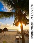 Small photo of Riviera Maya sunrise beach pal trees at Mayan Mexico