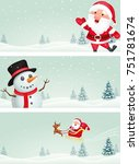 christmas banner with santa... | Shutterstock . vector #751781674