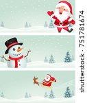 christmas banner with santa... | Shutterstock . vector #751781674