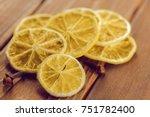 dried orange and lemon slices...   Shutterstock . vector #751782400