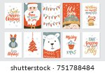 vector merry christmas greeting ... | Shutterstock .eps vector #751788484