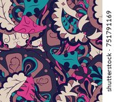 seamless mehndi vector pattern. ...   Shutterstock .eps vector #751791169