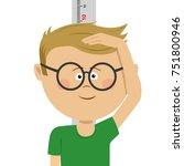 little nerd boy measuring...   Shutterstock .eps vector #751800946