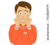 unhappy american prisoner boy... | Shutterstock .eps vector #751800979