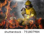 firefighters help the dog in... | Shutterstock . vector #751807984