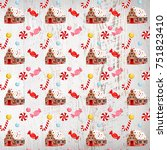 woodland gingerbread house  | Shutterstock . vector #751823410