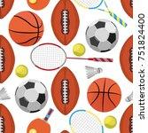 seamless sport pattern | Shutterstock .eps vector #751824400