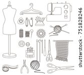 set of tools for needlework and ... | Shutterstock .eps vector #751828246