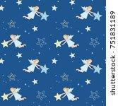 deep blue seamless for xmas   Shutterstock .eps vector #751831189