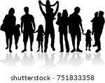vector silhouette of family. | Shutterstock .eps vector #751833358