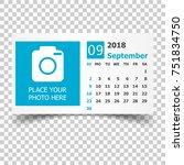 september 2018 calendar....   Shutterstock .eps vector #751834750