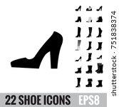 shoes vector icon collection.... | Shutterstock .eps vector #751838374