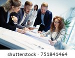group of architects working on... | Shutterstock . vector #751841464