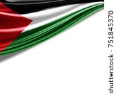 palestine  flag of silk with... | Shutterstock . vector #751845370