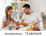 technology  eating and people... | Shutterstock . vector #751845649