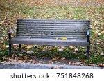 empty bench on an autumn... | Shutterstock . vector #751848268