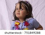 little girl from cologne posing ... | Shutterstock . vector #751849288