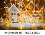 merry christmas text. christmas ...   Shutterstock . vector #751856533