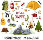 big vector set of camping... | Shutterstock .eps vector #751860253
