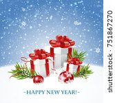 merry christmas and happy new... | Shutterstock .eps vector #751867270