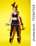 young happy fitness girl with... | Shutterstock . vector #751867318
