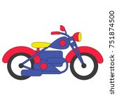 funny motorcycle cartoon  the... | Shutterstock .eps vector #751874500