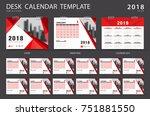 desk calendar 2018 template.... | Shutterstock .eps vector #751881550