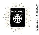 hand drawn passport textured... | Shutterstock .eps vector #751882489
