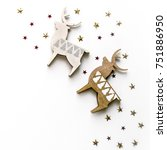 christmas composition with deer ...   Shutterstock . vector #751886950