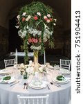round wedding table at... | Shutterstock . vector #751904413
